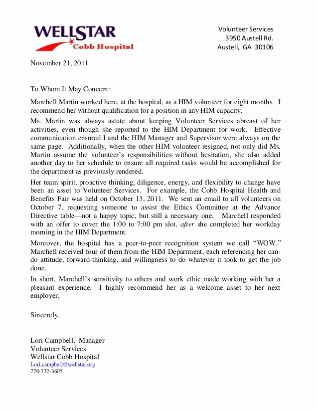 Letter Of Recommendation for Volunteers Beautiful Reference Letter Wellstar