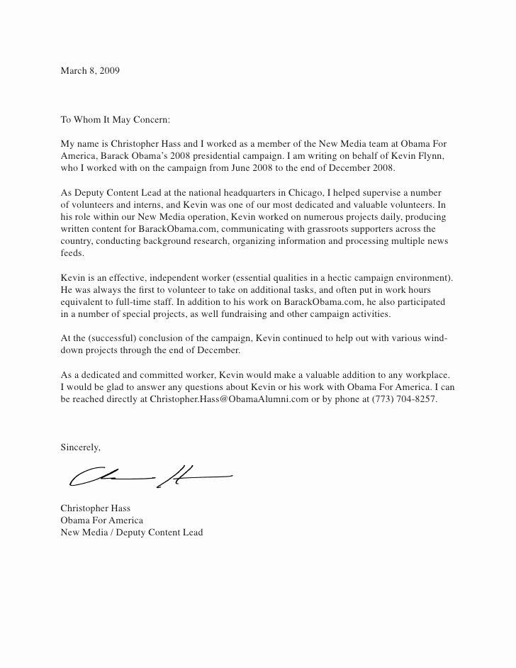 Letter Of Recommendation for Volunteers Fresh Letter Of Re Mendation