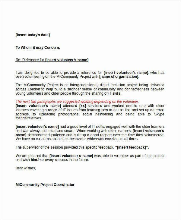 Letter Of Recommendation for Volunteers Unique 7 Sample Work Reference Letters Free Samples Examples