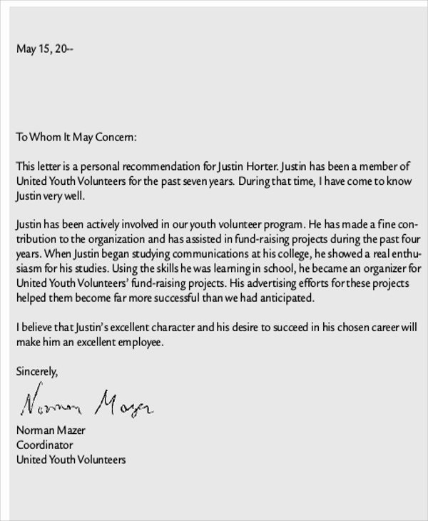 Letter Of Recommendation for Volunteers Unique 9 Sample School Reference Letters Free Samples