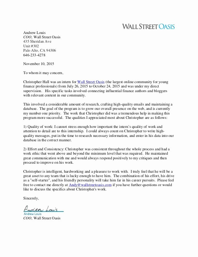 Letter Of Recommendation From Alumni Awesome Christopher Hall Letter Of Re Mendation