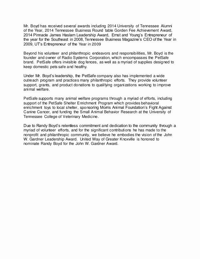 Letter Of Recommendation From Alumni Inspirational John W Gardner Leadership Award Nomination Letter