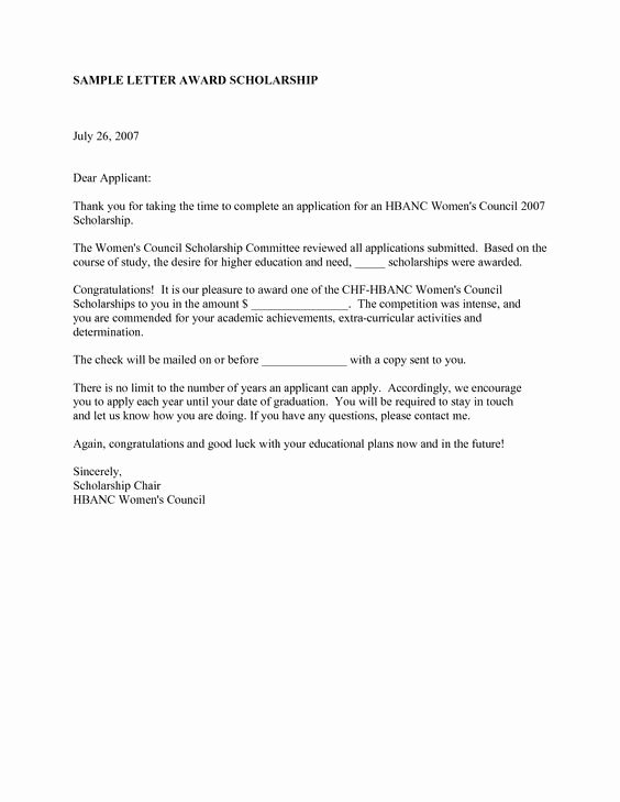 Letter Of Recommendation From Alumni Lovely Scholarship Congratulations Letter This Letter is