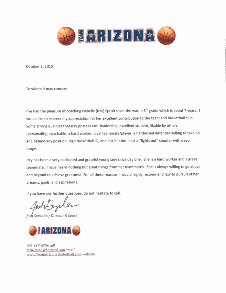 Letter Of Recommendation From Coach Awesome References – the Ficial Website Of Izzy Spruit