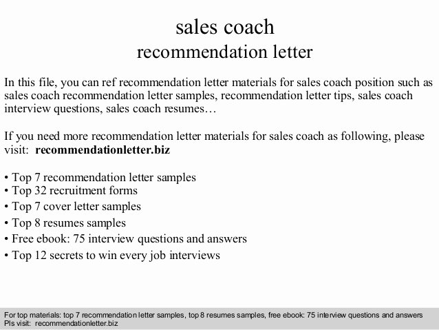 Letter Of Recommendation From Coach Best Of Sales Coach Re Mendation Letter