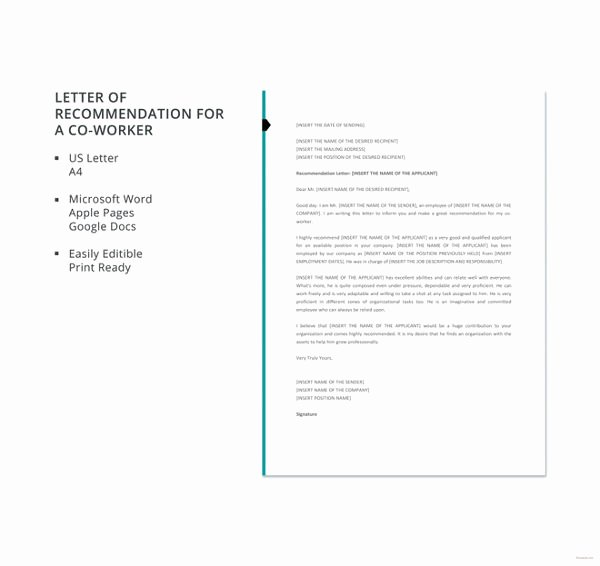 Letter Of Recommendation From Coworker Awesome Coworker Re Mendation Letter 10 Free Word Pdf