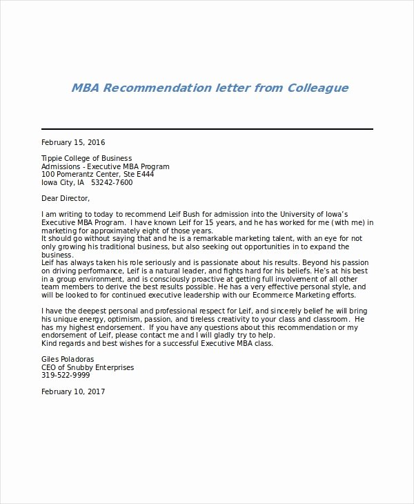 Letter Of Recommendation From Coworker Fresh 6 Sample Mba Re Mendation Letters Pdf Word