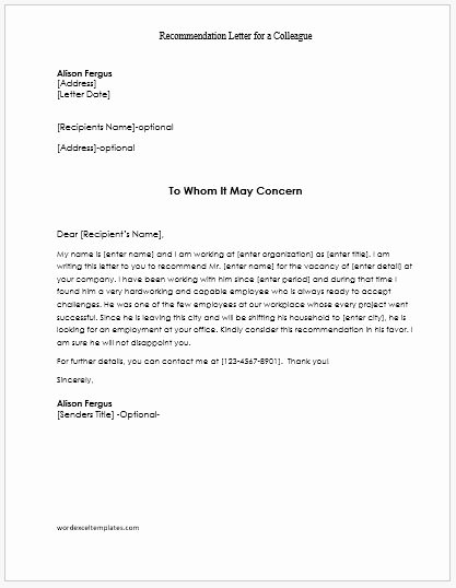 Letter Of Recommendation From Coworker Luxury Re Mendation Letters for Employees Teachers