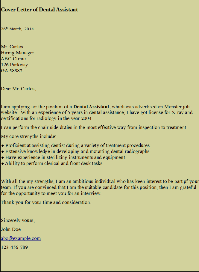 Letter Of Recommendation From Dentist Awesome Cover Letter for Dental assistant