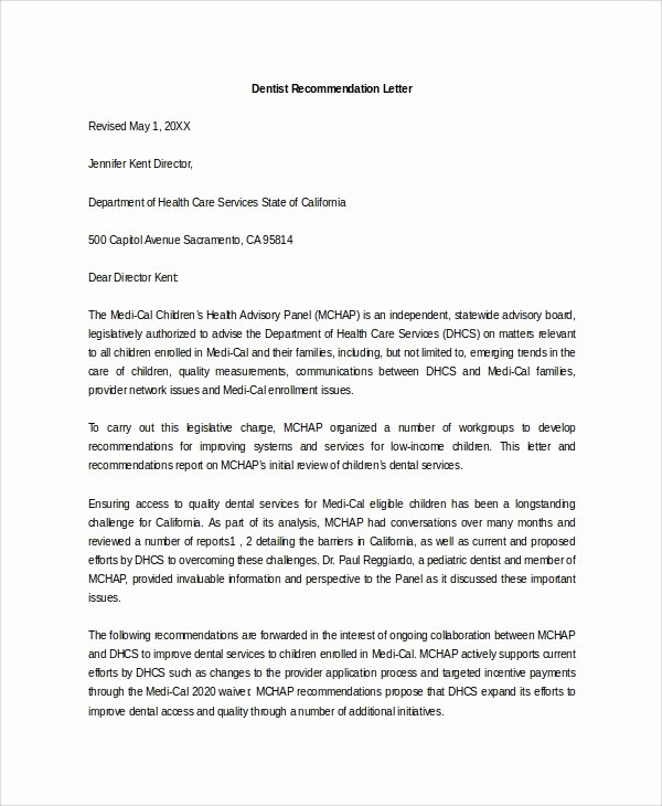 Letter Of Recommendation From Dentist Awesome Sample Letter Of Re Mendation 20 Free Documents