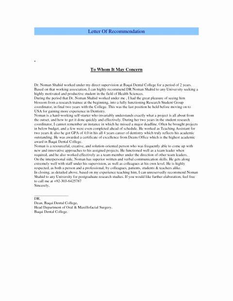 Letter Of Recommendation From Dentist Best Of Re Mendation Letter Dental School