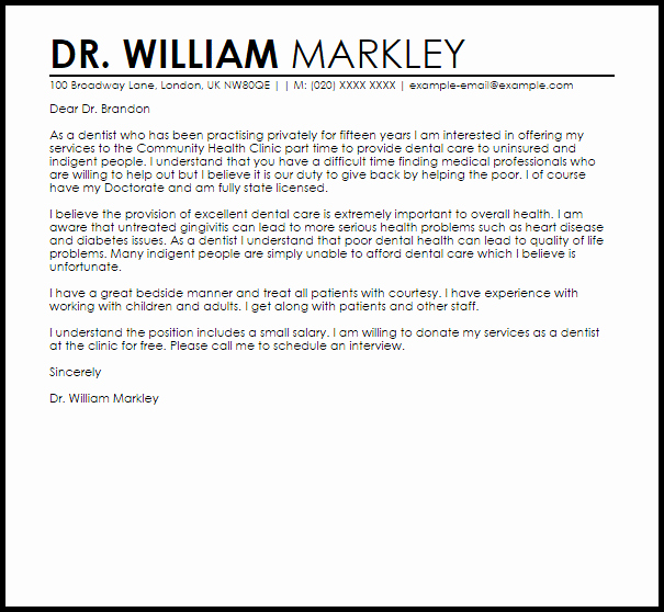 Letter Of Recommendation From Dentist New Dentist Sample Cover Letter