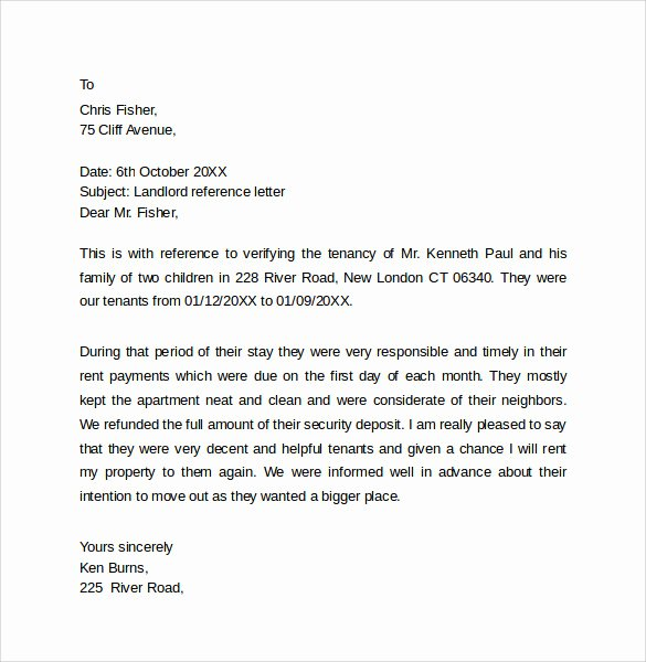 Letter Of Recommendation From Landlord Beautiful Landlord Reference Letter Template 10 Samples