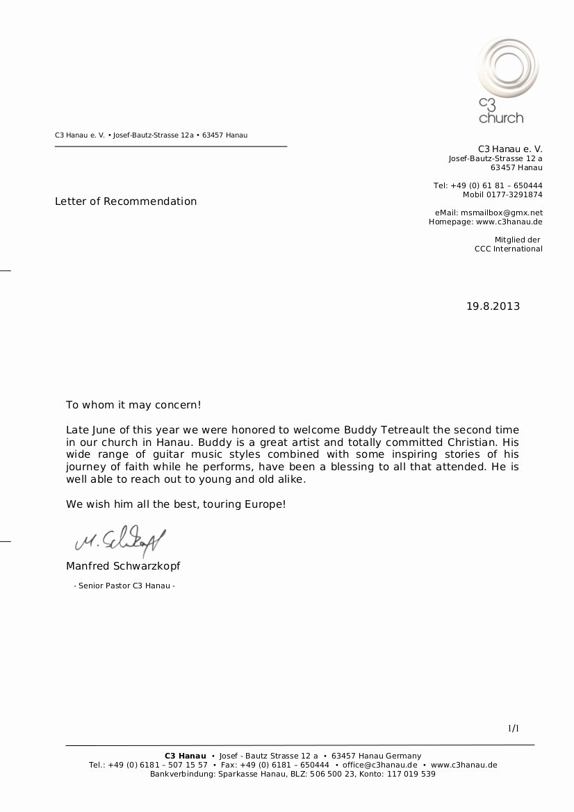 Letter Of Recommendation From Pastor Awesome Letter Re Mendation C3 Germany Hanau Manfredschwarzkopf