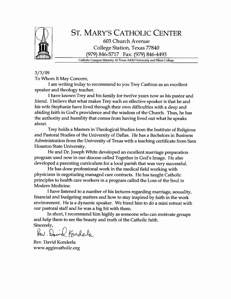 Letter Of Recommendation From Pastor Awesome Letter to A to Invite A Pastor to Preach