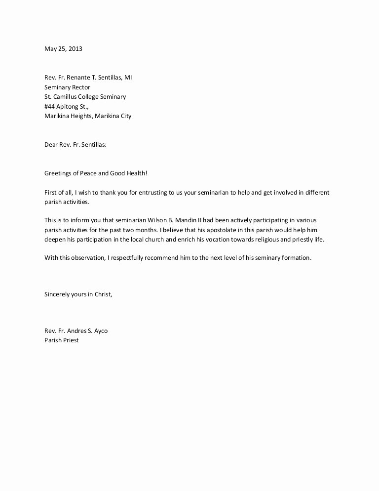 Letter Of Recommendation From Pastor Awesome Sample Re Mendation Letter for Scholarship From Parish