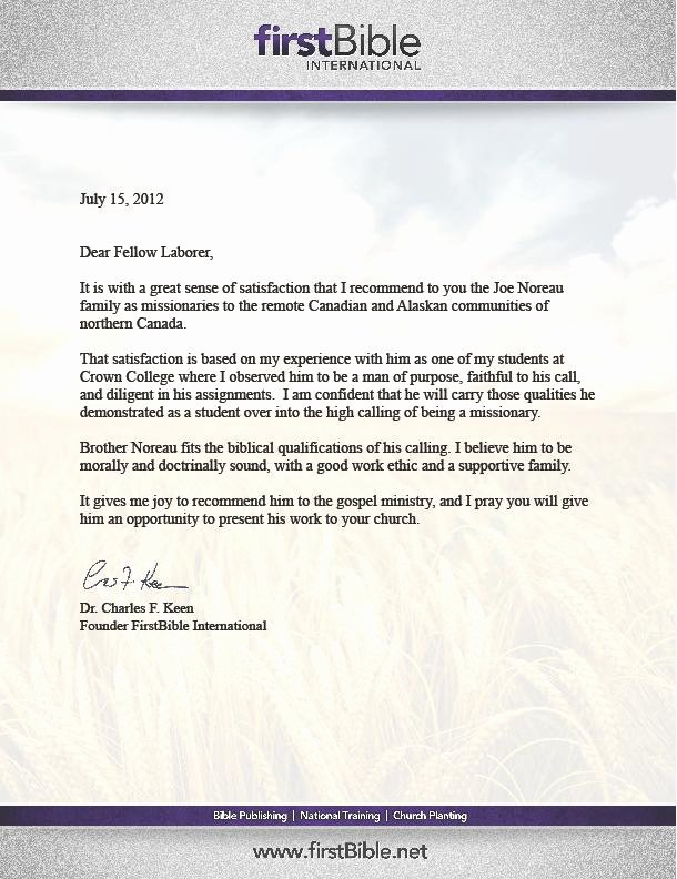 Letter Of Recommendation From Pastor Beautiful Pastor's Page – the noreau Family