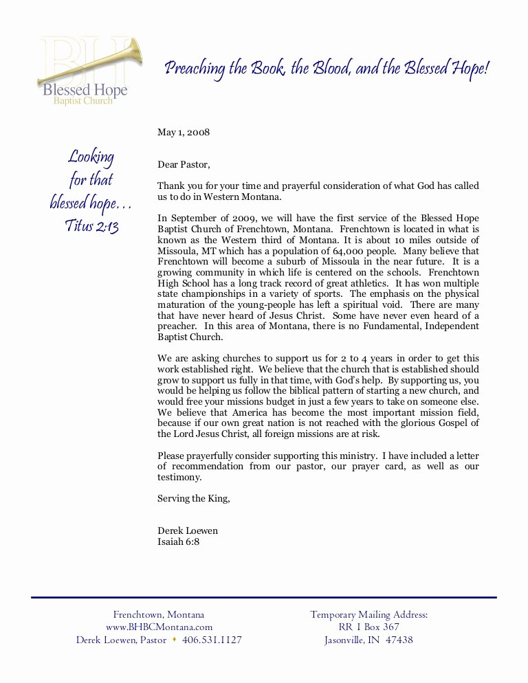 Letter Of Recommendation From Pastor Best Of Info Letter to Pastor