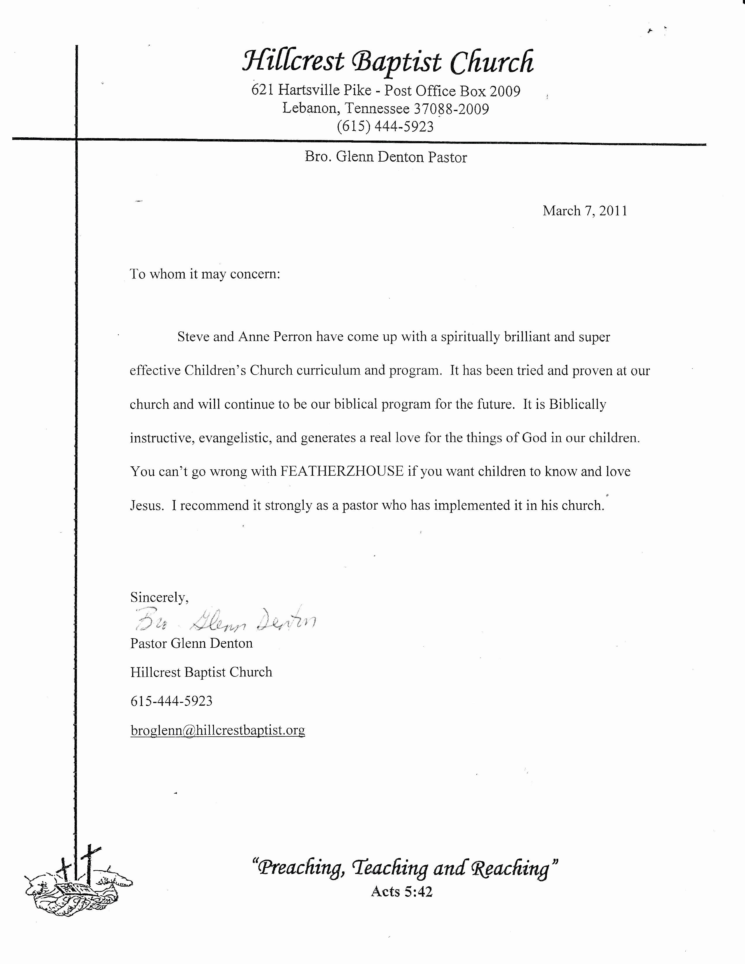 Letter Of Recommendation From Pastor Fresh Pastor Re Mendation Letter