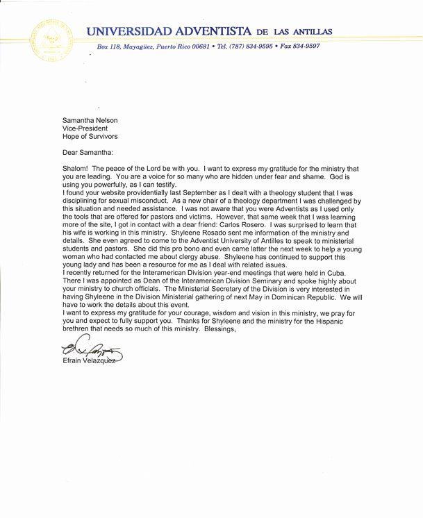 Letter Of Recommendation From Pastor New the Hope Of Survivors Letter Of Re Mendation Clergy
