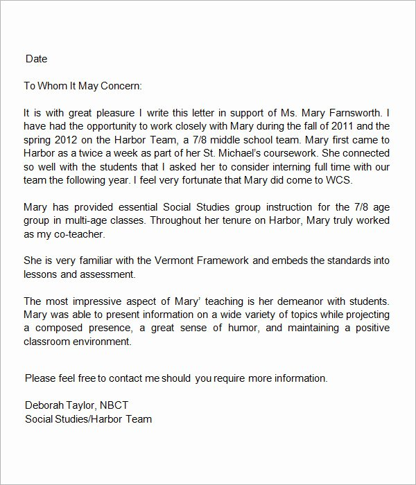 Letter Of Recommendation From Teacher Best Of 19 Letter Of Re Mendation for Teacher Samples Pdf Doc