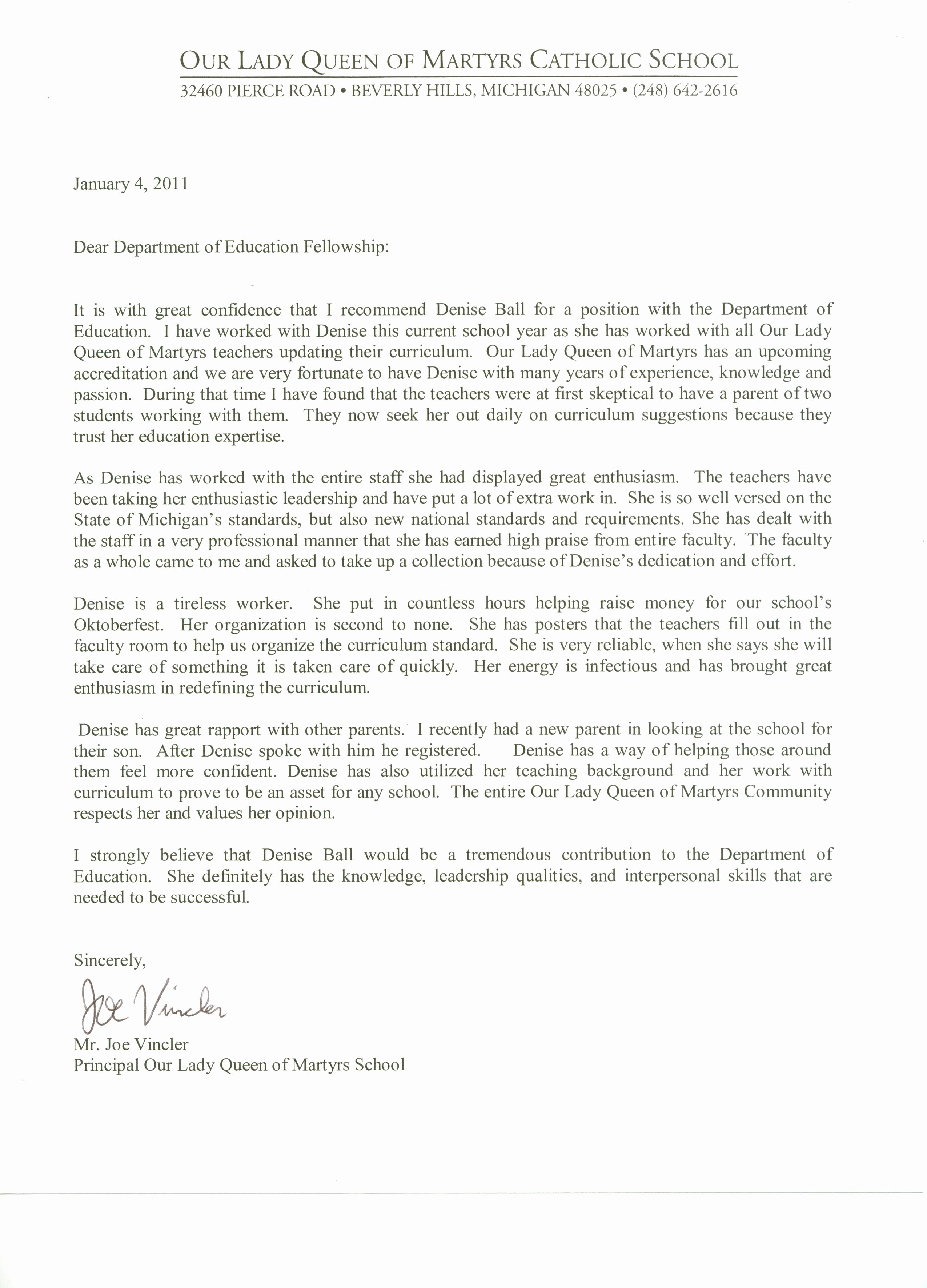 Letter Of Recommendation From Teacher Elegant Letter Of Re Mendation for Denise Ball