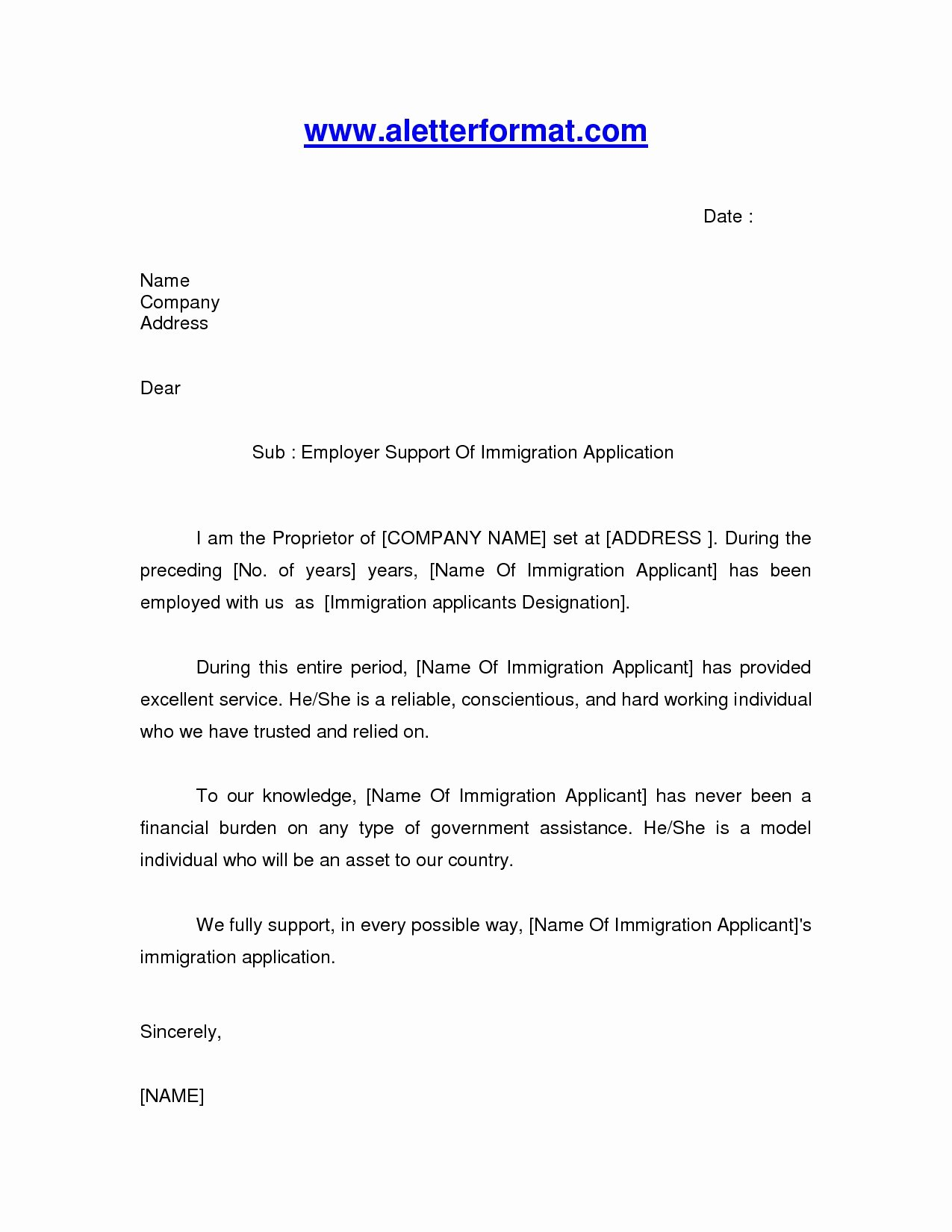 Letter Of Recommendation Immigration Inspirational Immigration Letter Sample