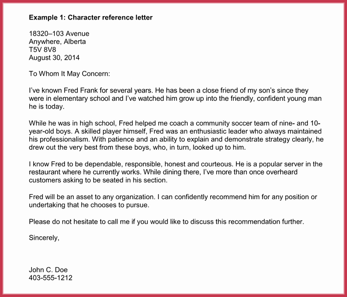 Letter Of Recommendation Immigration Lovely Immigration Reference Letters 7 Samples formats and