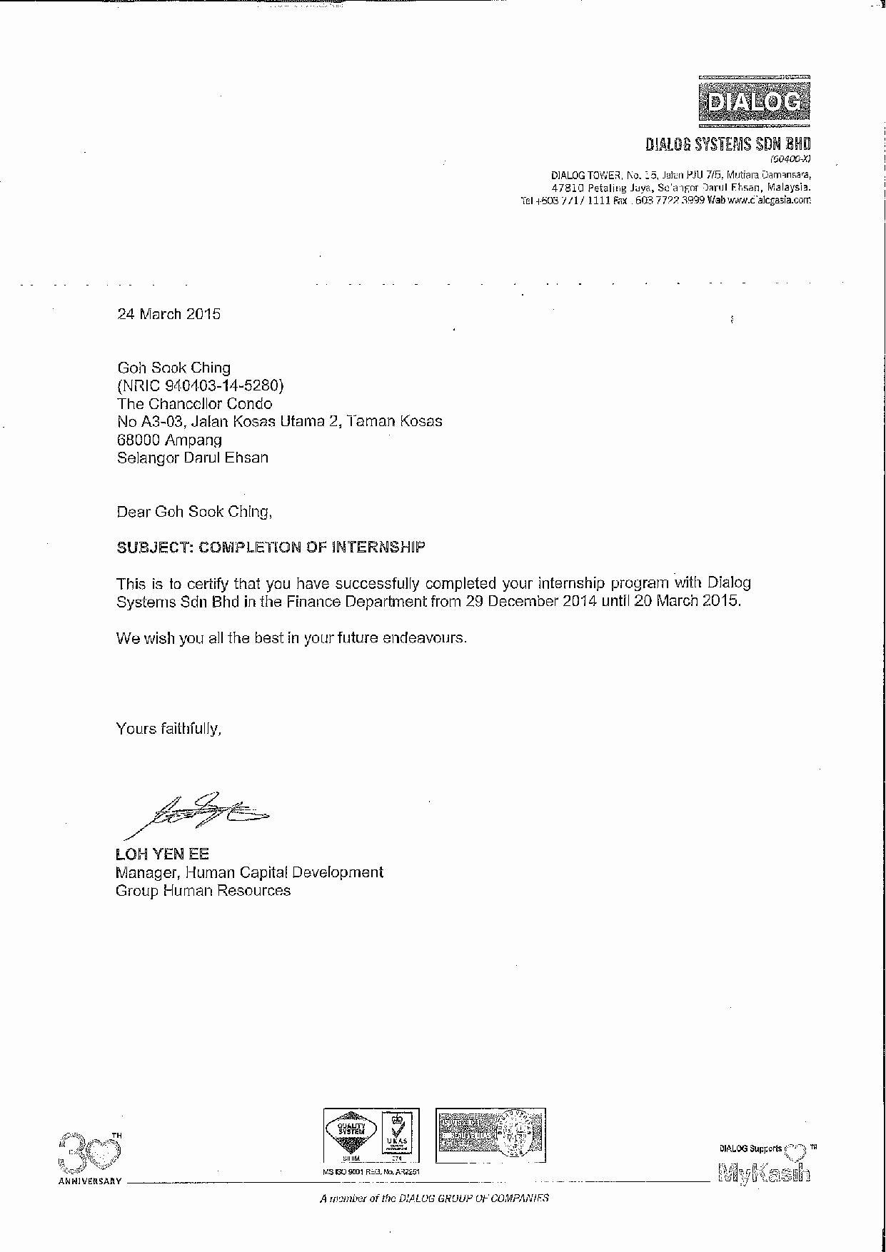 Letter Of Recommendation Internship Lovely Reference Letter Internship Report