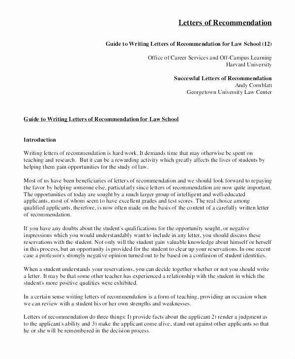 Letter Of Recommendation Law School Unique Letter Re Mendation Template for Graduate School