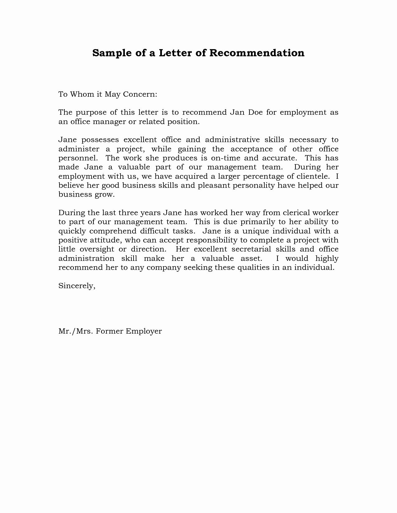 Letter Of Recommendation Letterhead Elegant Reference Letter Of Re Mendation Sample