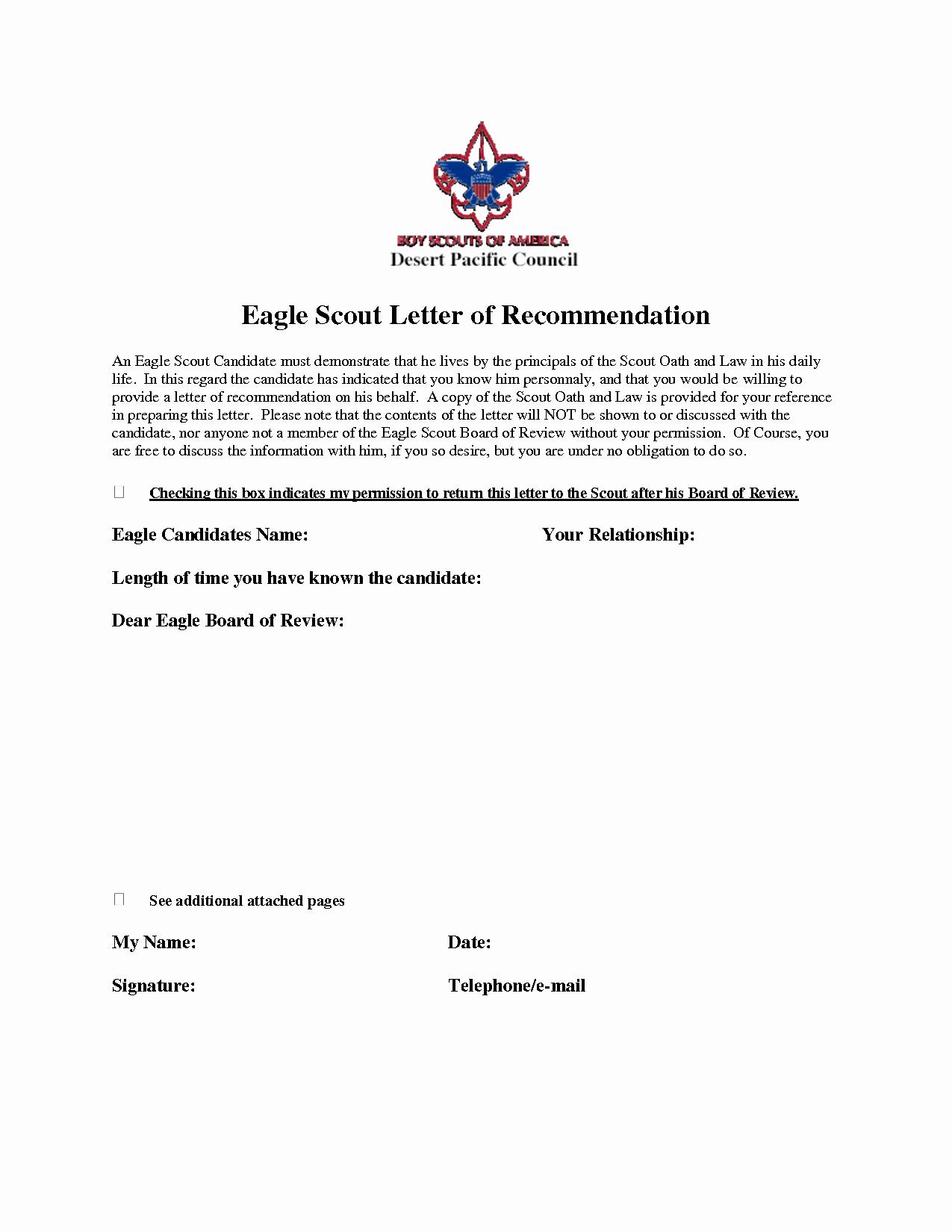 Letter Of Recommendation Letterhead Lovely Eagle Scout Re Mendation Letter Sample