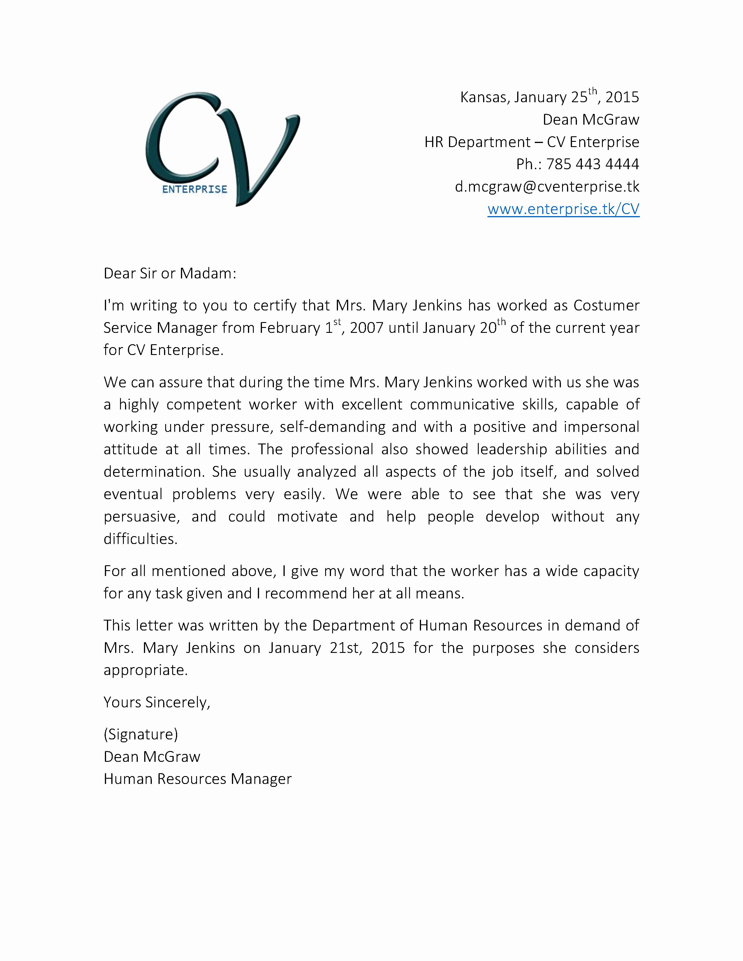 Letter Of Recommendation Letterhead Lovely Re Mendation Letter for Customer Service Job 2 Grow
