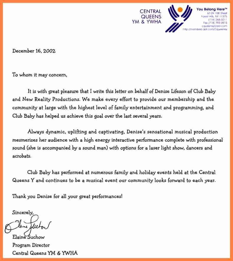 Letter Of Recommendation Letterhead Unique 7 Letter Of Re Mendation Letterhead