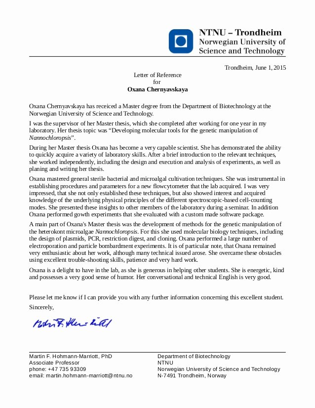Letter Of Recommendation Masters Program Elegant Reference Letter associate Professor