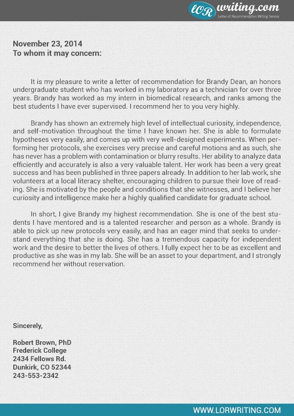 Letter Of Recommendation Masters Program Lovely Professional Sample Letter Of Re Mendation for Graduate