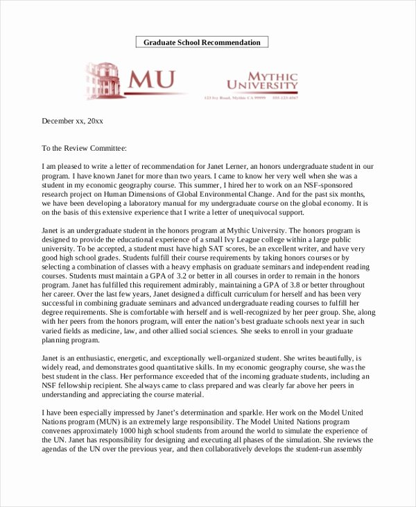 Letter Of Recommendation Masters Program New Sample Re Mendation Letter for Student Free Documents