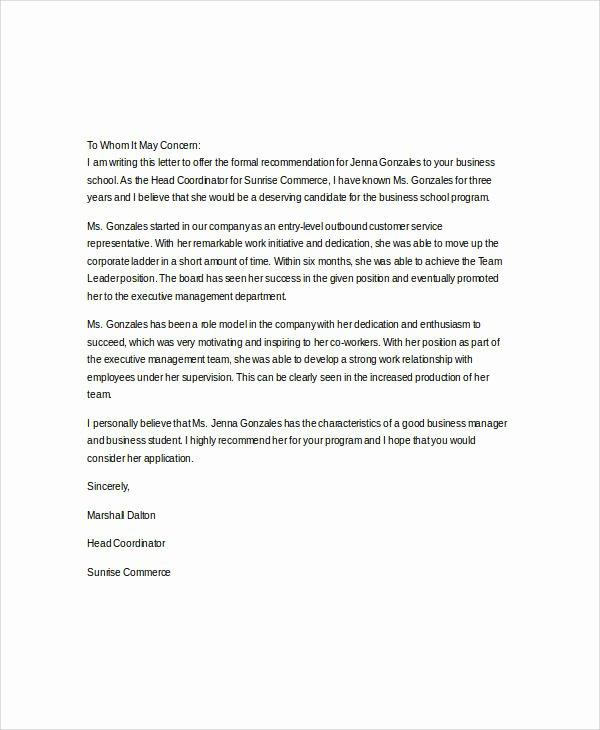 Letter Of Recommendation Mba Best Of 37 Re Mendation Letter format Samples