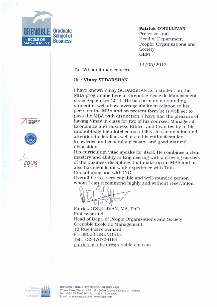 Letter Of Recommendation Mba Best Of Re Mendation Letter From Professor Of Economics