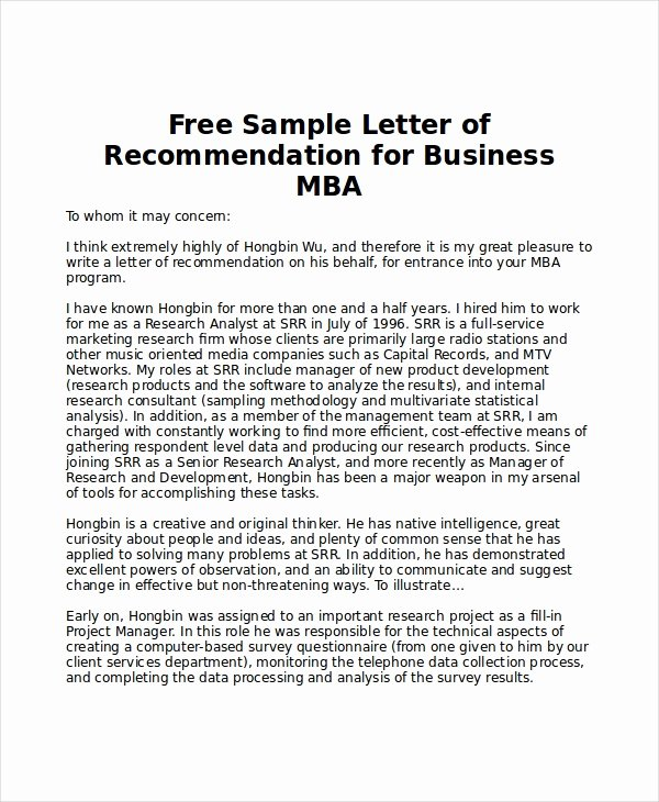 Letter Of Recommendation Mba Elegant 6 Sample Mba Re Mendation Letters Pdf Word