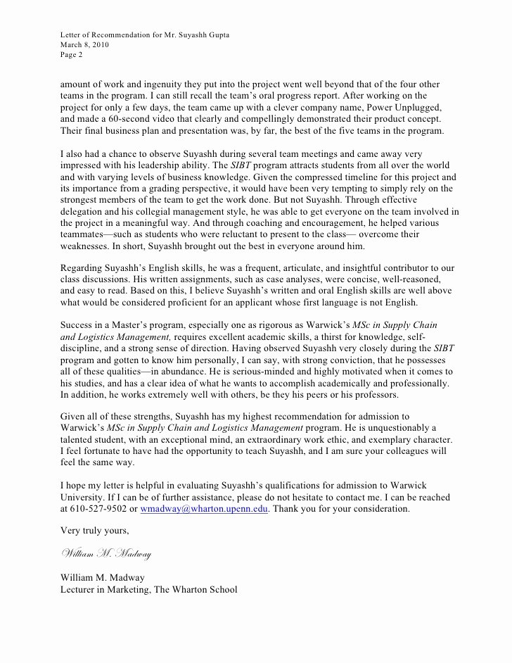 Letter Of Recommendation Mba Elegant Letter Re Mendation for Leadership Program