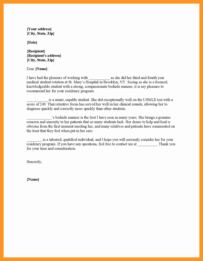 Letter Of Recommendation Medical Residency Best Of Eras Letter Of Re Mendation Sample
