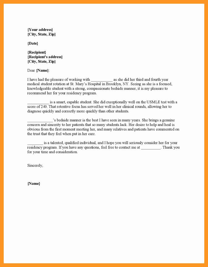 Letter Of Recommendation Medical Residency Best Of Eras Letter Of Re Mendation Sample