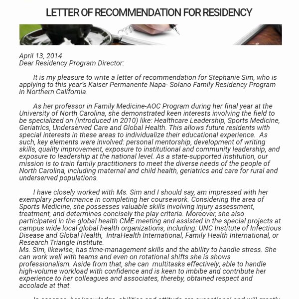Letter Of Recommendation Medical Residency Fresh Residency Letter Re Mendation Sample