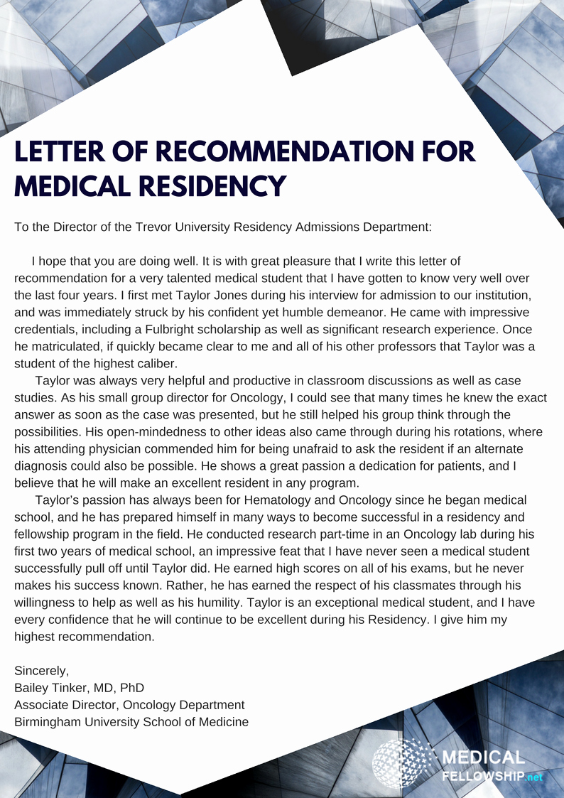 Letter Of Recommendation Medical Residency Lovely Effective Letter Of Re Mendation for Medical Residency