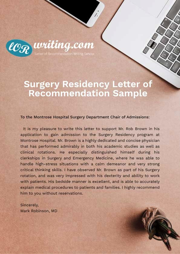 Letter Of Recommendation Medical Residency Luxury Professional Residency Letter Of Re Mendation Sample
