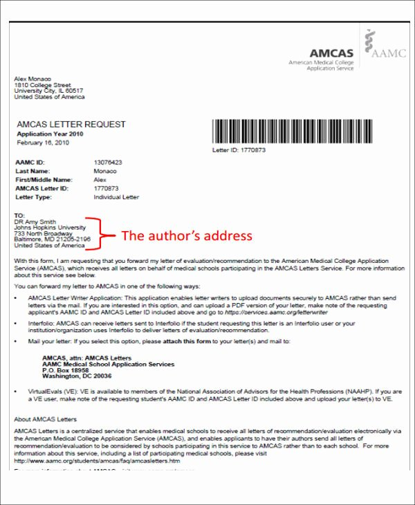 Letter Of Recommendation Medical School Awesome 8 Medical School Re Mendation Letter Free Sample