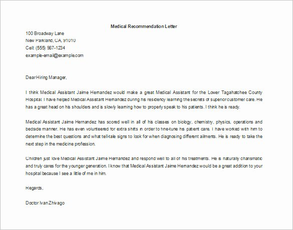 Letter Of Recommendation Medical School Beautiful 11 Re Mendation Letters for Employment – Free Sample