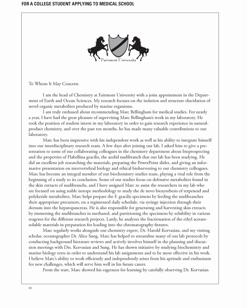 Letter Of Recommendation Medical School Beautiful Letters Of Re Mendation Samples
