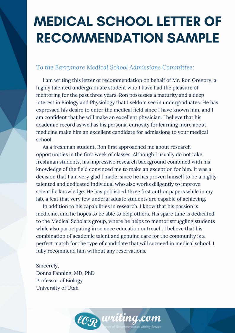 Letter Of Recommendation Medical School Unique Professional Medical School Re Mendation Letter Example